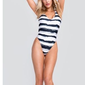NWOT WILDFOX Striped One Piece Swimsuit.